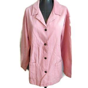 Newport News Pink Twill Jacket Blazer 14 Pockets L
